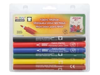 craft & hobbies: Marvy Uchida Fabric Marker Fine Tip Set 6 pc. Primary