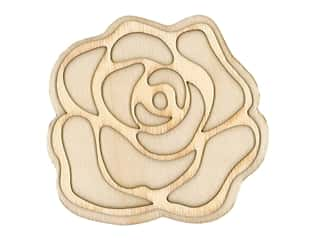 craft & hobbies: Plaid Wood Unfinished Shape Rose