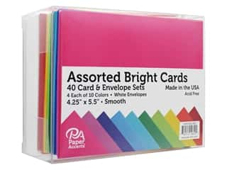 Paper Accents Card & Envelopes 4.25 in. x 5.5 in. Bright Smooth Assorted 40 pc