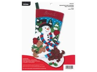 Bucilla Felt Kit Snowman And Puppies Stocking