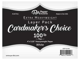 scrapbooking & paper crafts: Paper Accents Cardstock Pack Cardmakers Choice 4 in. x 5.25 in. 100 lb White 75 pc