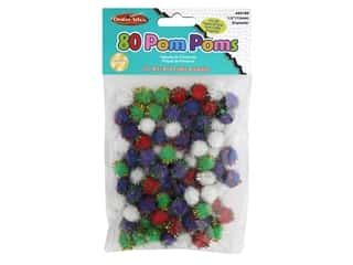 Creative Arts Pom Poms 1.5 in. 80 pc Glitter Assorted