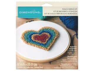 yarn & needlework: Dimensions Punch Needle Kit 8 in. Heart Retro