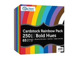 scrapbooking & paper crafts: Paper Accents Cardstock Rainbow Pack 12 x 12 in. Bold Hues 250 pc.