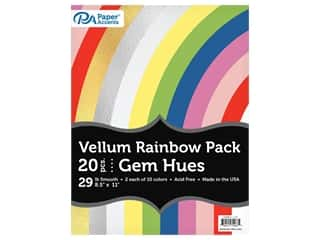 scrapbooking & paper crafts: Paper Accents Rainbow Variety Pack 8.5 in. x 11 in. Vellum Gem Hues 20 pc