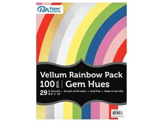 scrapbooking & paper crafts: Paper Accents Cardstock Variety Pack 8.5 in. x 11 in. Rainbow Vellum Gem Hues 100 pc