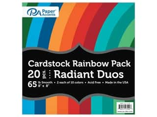 scrapbooking & paper crafts: Paper Accents Cardstock Variety Pack 8 in. x 8 in. Rainbow 65 lb Radiant Duo 20 pc (3 sets)