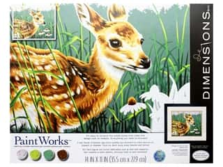 Paintworks Paint By Number Kit 14 x 11 in. Fawn And Flowers