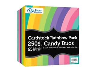 scrapbooking & paper crafts: Paper Accents Cardstock Rainbow Pack 12 x 12 in. Candy Duo 250 pc.