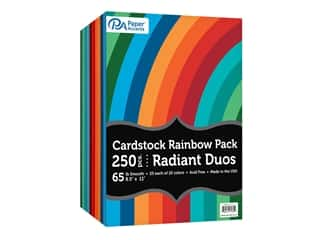 scrapbooking & paper crafts: Paper Accents Cardstock Variety Pack 8.5 in. x 11 in. Rainbow 65 lb Radiant Duo 250 pc