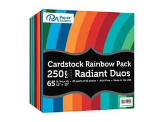 scrapbooking & paper crafts: Paper Accents Cardstock Rainbow Pack 12 x 12 in. Radiant Duo 250 pc.