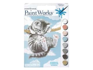 "Paint Works Paint By Number Kit Intermediate 9""x 12"" Hang On Kitty"