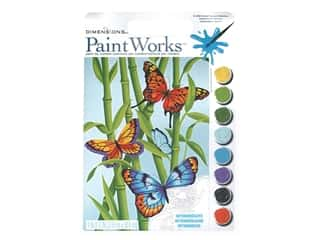 "Paint Works Paint By Number Kit Intermediate 9""x 12"" Butterflies & Bamboo"