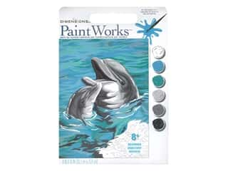 craft & hobbies: Paint Works Paint By Number Kit Beginner 8 x 10 in. Dolphins Duo