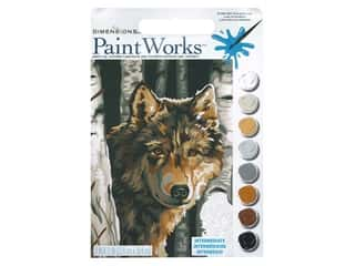 craft & hobbies: Paint Works Paint By Number Kit 9 x 12 in. Wolf Among Birches