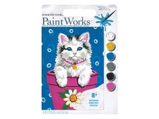 craft & hobbies: Paintworks Paint By Number Kit 8 x 10 in. Flower Pot Kitten