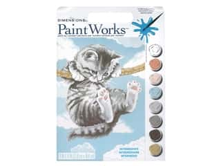 craft & hobbies: Paint Works Paint By Number Kit 9 x 12 in. Hang On Kitty