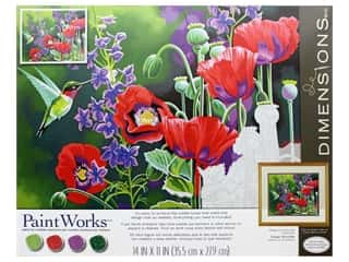 craft & hobbies: Paintworks Paint By Number Kit 14 x 11 in. Hummingbird & Poppies