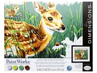 craft & hobbies: Paintworks Paint By Number Kit 14 x 11 in. Fawn And Flowers