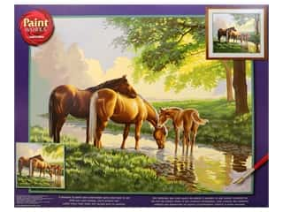 Paintworks Paint By Number Kit 20 x 16 in. Horses By A Stream