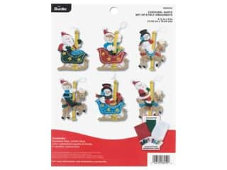 Bucilla Felt Kit Carousel Santa Ornaments 6 pc