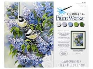 craft & hobbies: Paintworks Paint By Number Kit 11 x 14 in. Chickadees & Lilacs
