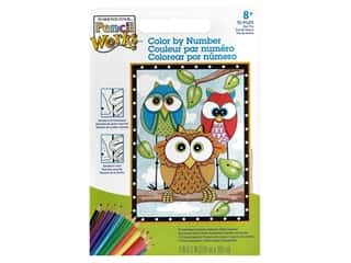Paint Works Pencil Color By Number Kit Pencil 9 in. x 12 in. Owl Trio