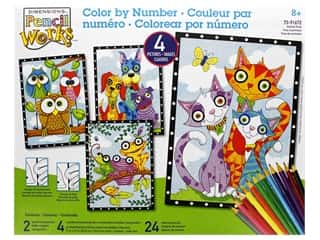 craft & hobbies: Paint Works Pencil Color By Number Kit Pencil 9 in. x 12 in. Animal Trios 4pk