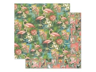 scrapbooking & paper crafts: Graphic 45 Lost In Paradise Paper 12 in. x 12 in. Flamingo Lagoon (25 pieces)
