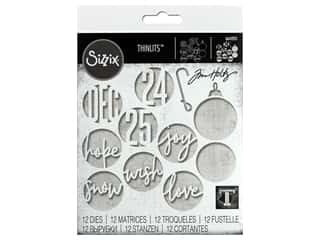Sizzix Dies Tim Holtz Thinlits Circle Words Christmas