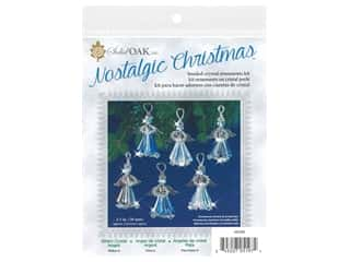 beading & jewelry making supplies: Solid Oak Kit Beaded Ornament Crystal Angels Silver