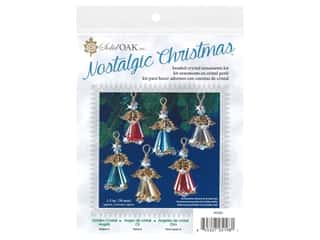 craft & hobbies: Solid Oak Kit Beaded Ornament Crystal Angels Gold