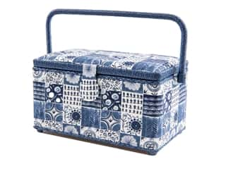 St Jane Sewing Baskets Rectangle Medium Patch Blue