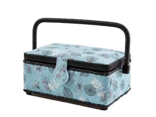 Dritz Rectangle Sewing Basket - Small - Floral Blue