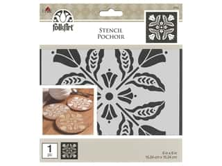 Plaid Stencil Folkart 6 in. x 6 in. Floral Block
