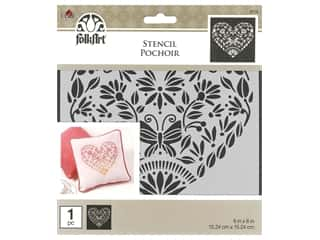 Plaid Stencil Folkart 6 in. x 6 in. Folk Heart