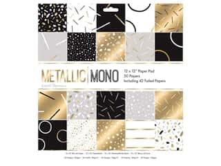 "scrapbooking & paper crafts: Docrafts Papermania Paper Pad 12""x 12"" Metallic Mono"