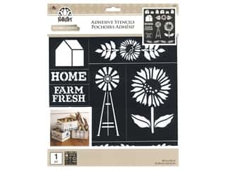 craft & hobbies: Plaid Stencil Folkart Adhesive 8.5 in. x 9.5 in. Farmhouse Market