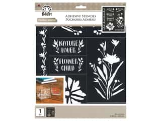 craft & hobbies: Plaid Folkart Adhesive Stencils - Floral Wildflowers