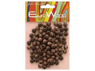 John Bead Wood Bead Round 8 mm Dark Brown