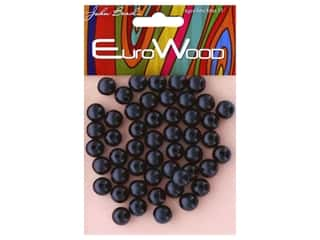 John Bead Wood Bead Round 10 mm Black