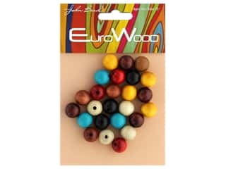 John Bead Wood Bead Round 12 mm Multi