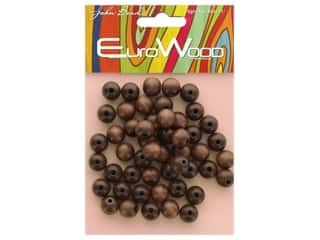 John Bead Wood Bead Euro Wood Round 10mm Dark Brown
