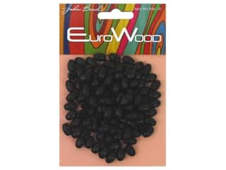 John Bead Wood Bead Oval 6 x 9 mm Black