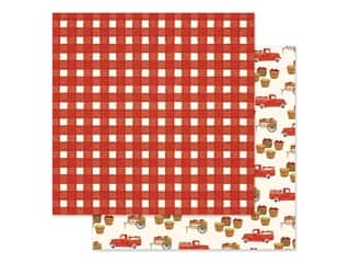 "Carta Bella Collection Fall Market Paper 12""x 12"" Red Gingham (25 pieces)"