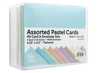 Paper Accents Blank Card & Envelopes - 4 1/4 x 5 1/2 in. - Pastel Assorted 40 pc.