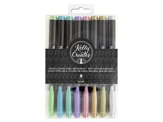 American Crafts Kelly Creates Small Brush Pens 8 pc. Metallic Jewel