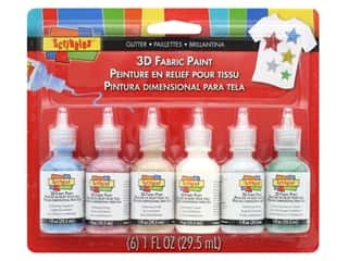 Scribbles Dimensional Fabric Paint Set 6 pc. Glitter