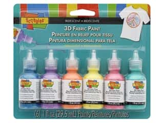 Scribbles Dimensional Fabric Paint Set 6 pc. Iridescent