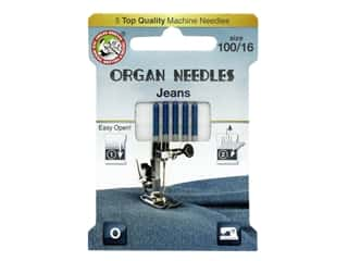 Organ Needle Company Machine Needles Jeans Size 100/16 5 pc